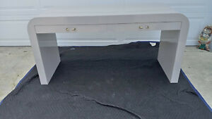 Vintage Mid Century Gray Water Fall Laminate Mica 2 Drawer Desk Console Table