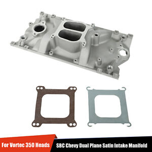 For Vortec 350 Heads Sbc Chevy Dual Plane Satin Aluminum Intake Manifold 96 Up
