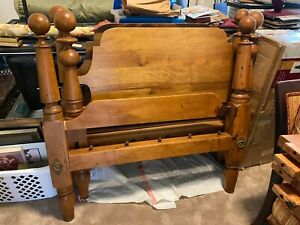 Antique Solid Maple Twin Size Cannonball Beds Furniture 1800 S