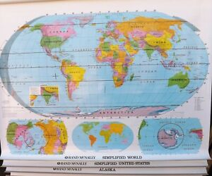 Rand Mcnally Retractable Pull Down Maps World United States Alaska
