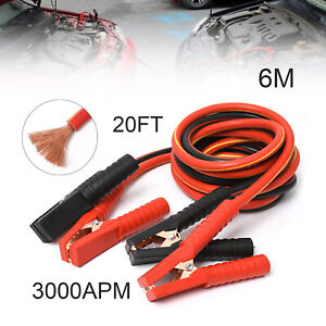 3000amp Booster Cables 0 Gauge Jumper Leads 20ft For Car Truck Van Clamps Start