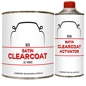 Satin Urethane Clear Coat Sc 15 15a Gallon Kit Low Gloss Clear W Activator