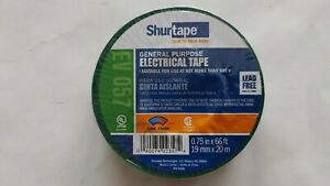 Shurtape 200785 Ev 057 Ul Listed Green Electrical Tape 3 4in X 66ft