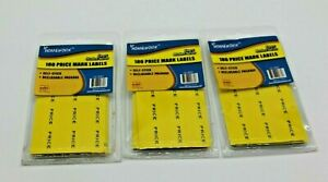 Yellow Price Mark Label Stickers 180 Labels Per Pack 3 pack