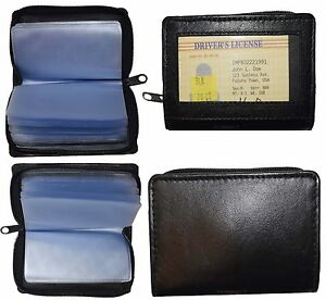 Lot Of 2 Zip Around Business Card Case Leather Credit Card 30 Photo Id Holder