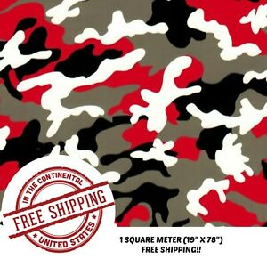 Hydrographic Film Water Transfer Film Hydro Dipping Dip Red Black Camo 19 x78