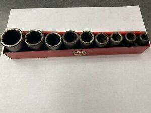 Mac Tools Vp Series 1 2 12 Point 9 Pc Sae Socket Shallow Set Impact W Tray