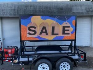 Double Sided Led Sign On 2 axle Utility Trailer 4ft By 9ft 5 Years Warranty