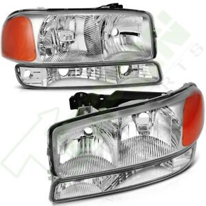 For 1999 2006 Gmc Sierra Yukon Xl Front Headlights Assembly Bumper Lamps Pair