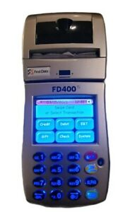First Data Fd400ti Wireless Credit Card Reader Terminal W cables Box