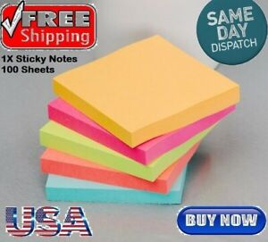 Sticky Notes 3in X 3in Self stick Notes 5 Bright Color 1 Pads 100 Sheets pad