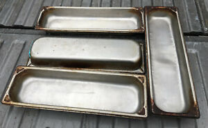 Lot Of 4 Vollrath Half Size Long 2 5 Deep Stainless Steel Steam Table Pans 1 2