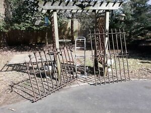 Early Antique Wrought Iron Fence Panels Gothic