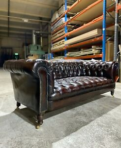 Very Good 19thc Victorian Leather Chesterfield Sofa Amazing Patina