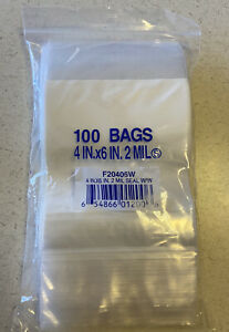 4 6 2 Mil Closable Bags With Writing Surface Pack Of 100