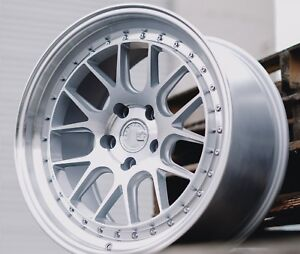 Aodhan Ds06 18x8 5 35 18x9 5 30 5x114 3 Silver Machined Staggered set Of 4