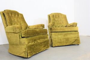 Pair Of Mid Century Modern Tufted Back Club Chairs