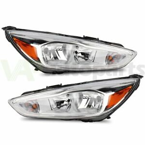 2x Fits 2015 2018 Ford Focus Chrome Housing Amber Corner Headlights Assembly