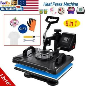 6 In 1 Heat Press Machine For T shirts Combo Kit Sublimation Swing Away 12 x15