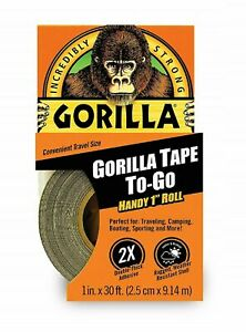 Gorilla Duct Tape To go 1 X 30 Ft Black Double thick Adhesive