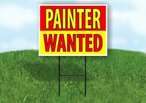 Painter Wanted Red Yellow Plastic Yard Sign Road Sign With Stand