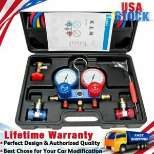 R134a Ac Manifold Gauge Set With Hoses And Air Vacuum Pump R12 New R 134 A