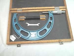 Fowler 5 6 Micrometer With Setting Rod Adj Wrench 0001 Ratchet Stop
