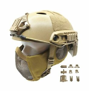 Tactical Airsoft Fast Helmet PJ Type and Metal Mesh Guard Foldable Double Str... $61.83