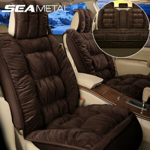 Warm Plush Car Seat Cover Car Interior Decoration Full Set Of Front Rear Brown