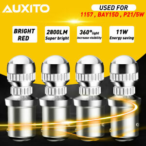 4x Auxito 1157 2057 Pure Red Led Tail Brake Stop Light Parking Bulbs Replacement