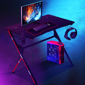 30 Ergonomic Gaming Table With Cup Holder headset Rack Pc Computer Desk Office