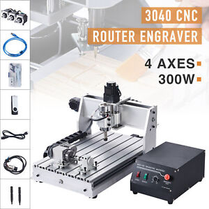 4 Axis Cnc Router Cutting Engraving Carving Machine W Usb Port For Wood More