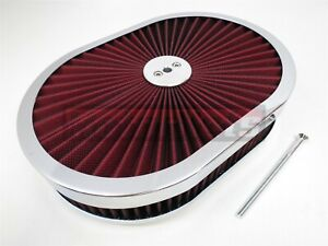 12 x2 Oval Super Flow Thru Air Cleaner Filtertop Red Washable Sbc Bbc Chevy Ford
