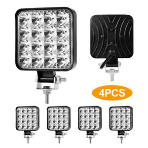 4x 4inch 192w Square Led Work Lights Pods Spot Offroad Truck Suv Fog Driving 12v