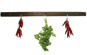 Mid Late 19th C American Primitive Iron Hook Hanging Wood Rack For Drying Herbs