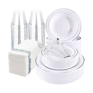 Wdf 400pieces Silver Plastic Plates With Disposable Plastic Silverware silver