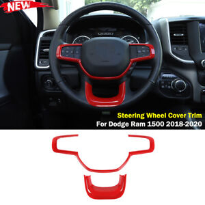 Interior Steering Wheel Frame Cover Trim For Dodge Ram 1500 18 Red Accessories