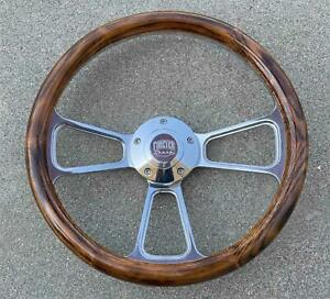 14 Billet Steering Wheel Wood Oak Flame Burn W Billet Horn