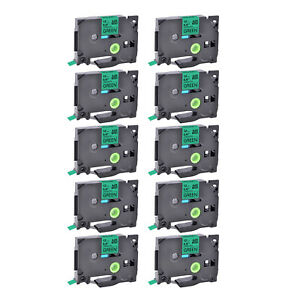 10pk Compatible With Brother Pt1400 Tze 731 Tz 731 Green Label Tape 12mm