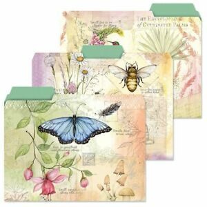 Colorful Butterfly Floral File Folders Set Of 12 3 Designs Documents Storage