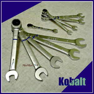 Kobalt Ratcheting Combination Wrench Set 10 Piece Metric 90 tooth 12 point