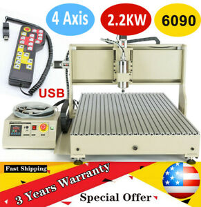 4 Axis Cnc Router Engraver 6090 2 2kw Usb Woodworking Milling Cutting Ball Screw