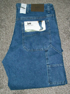 Mens LEE RIDERS Relaxed Fit Cotton Blue Denim Carpenter Jeans NWT 36x30 $70 $39.98