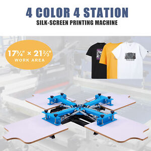 Preenex 4 Station Silk Screen Printing Machine For 4 Color Design Shirts More