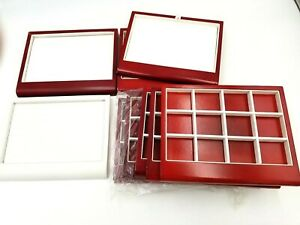 Lot 9 Vintage Counter Top Fine Jewelry Trays Displays Red Wood White Leatherette