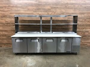 2016 True Tpp 119 Solid 4 Door Refrigerated Pizza Prep Table With 2 Overshelves