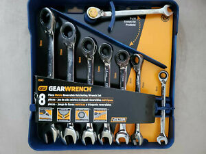 New Gearwrench 8 Piece 9543 Reversible Ratcheting Combination Wrench Set Metric