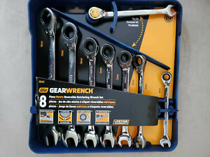 New Gearwrench 8 piece Reversible Ratcheting Combination Wrench Set metric 9543