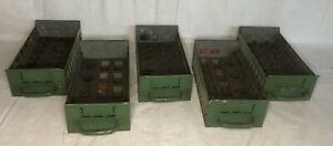 Lot Of 5 Vintage Industrial Metal Drawers Green With Wooden Inserts Repurpose