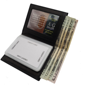 Ag Wallets Leather Plastic Inserts Book Credit Card Id Holder Wallet Black